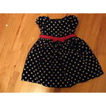 Gymboree Holiday Panda black velvet polka dot Christmas dress; size 5T