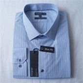 M & S Autograph Blue Stripe Regular Fit Men's L/S Office Shirt