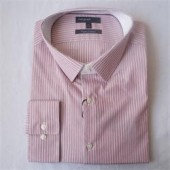 M & S Autograph Red Stripe Tailored Fit Men's L/S Office Shirt