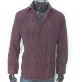 Reveal Wine/Black Men's L/Sleeve Shirt Wt Large Stripe Sz XL/2XL