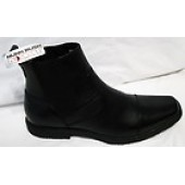 NUNN BUSH NXXT LEROY Black Leather Casual Dress Ankle Boots Cap Toe Size 13 M