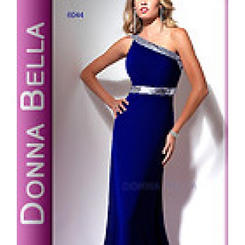 Donna Bella One Shoulder Evening Gown  Royal Blue