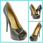 Fancy Peep Toes Platform Heels Black 8, 7.5, 8.5