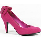 Raspberry Pink Round Toe Faux Suede Pump 7 us Anne Michelle