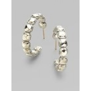 Silver Rocks Hoop Earrings
