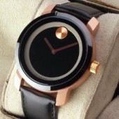 Movado Men's 'Collection' Stainless Steel and Leather Quartz Watch