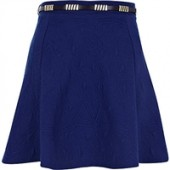 Blue Textured River Island Belted Skater Skirt