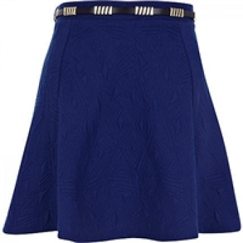 Blue Textured River Island Belted Skater Skirt