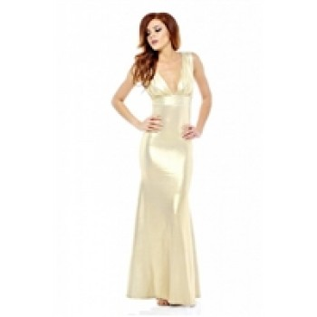 AX Paris Gold Fishtail Floor Length Dress
