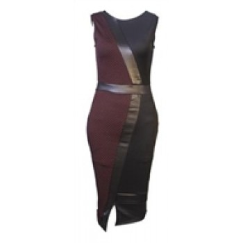 Black & Burgundy Sleeveless Panel Dress with Leather