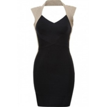 Black Contrast Lurex Panelled Bodycon Dress