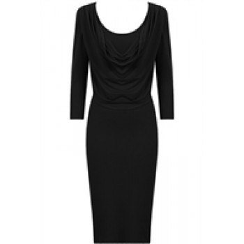 Black Drop Neck Bodycon Dress