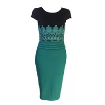 Black & Green Embroidered Pencil Dress