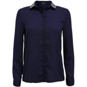 Blue Studded Collar Chiffon Blouse