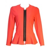 Coral peplum Blazer with front zip