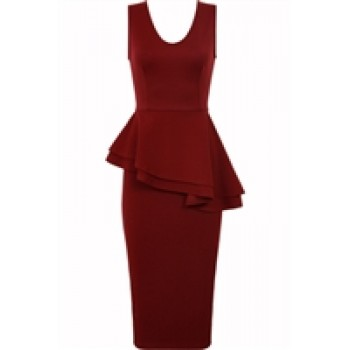 BurgundyCross Peplum Style Pencil Dress