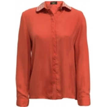 Coral Studded Collar Chiffon Blouse