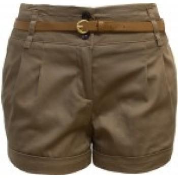 Brown Folded Hem Belted Shorts