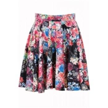 Black Floral Skater Skirts