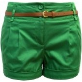 Green Folded Hem Belted Shorts with brown belt