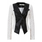 White & Black Lace Contrast Jacket
