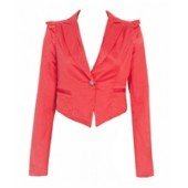 Red Crop Bow Trim jacket