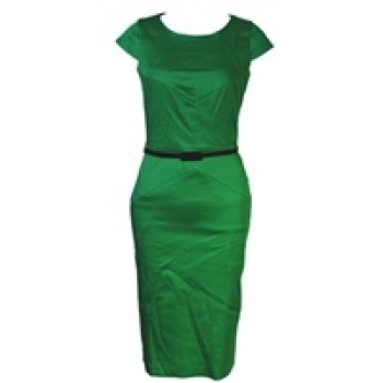 Green Cap Sleeve Dress with Black Belt