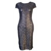 Grey metallic midi dress