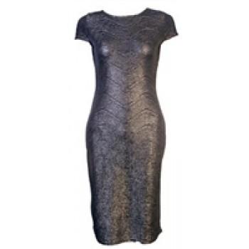 Grey metallic midi dress