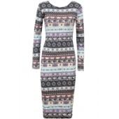Multicoloured Print Long Sleeve Midi Dress