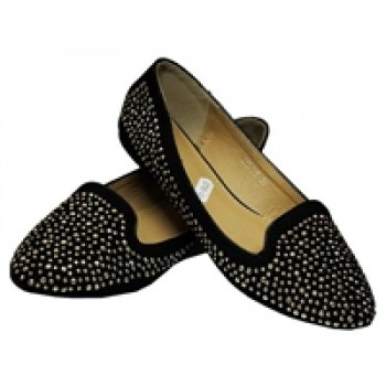 Gold Studded Black Ballerina Flat shoe