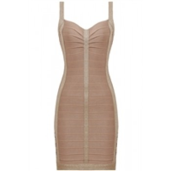 Gold Side Buckle Detail Bandage Dress
