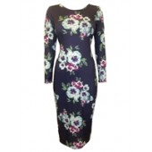 Navy Long Sleeve Floral Print Midi Dress