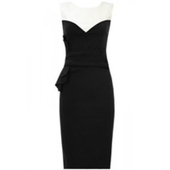 Black Oversize Waist Detail Contrast Fitted Dress