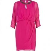 Pink Necklace Embellished Chiffon Dress