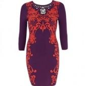 Purple Floral Print Bodycon Dress