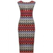 Red Multicoloured Print Sleeveless Midi Dress