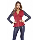 PU sleeve Peplum Zip Front Jacket