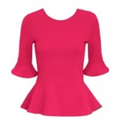 Hot Pink Frill Sleeved Peplum Trim Top