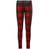 Red & Black Tartan Print PVC Detail Leggings