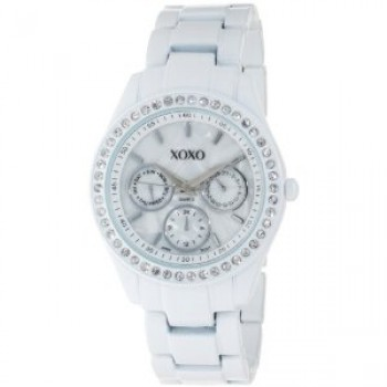 XOXO Women's XO114 Rhinestone Accent White Enamel Bracelet Watch